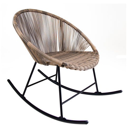 Charles Bentley Bali Outdoor Patio Furniture Rocking Chair In Natural PE Rattan With Black Powder Coated Frame Max User 120kg H80 x W98 x D70 cm