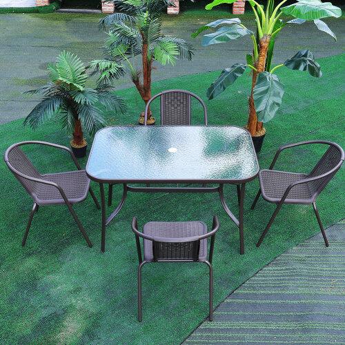 Garden Patio Table Chair Outdoor Seating Parasol Hole