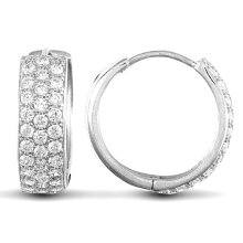 Jewelco London Solid 9ct White Gold White Round Brilliant Cubic Zirconia 3 Row Pave 5.3mm Huggie Hoop Earrings 16mm