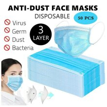 50pcs Face Masks Disposable 3 Layers Dustproof Mask Facial Protective