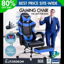 ELFORDSON Gaming Chair Office Executive Racing Footrest Seat PU Leather