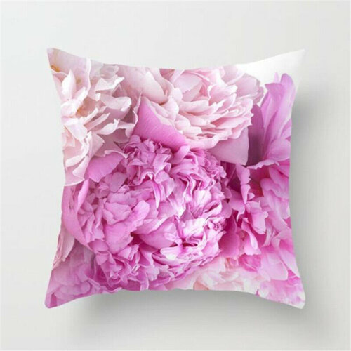 (#9 Rose Print) Pink Rose / Peony Flower Throw Pillow Case Cushion Cover Floral Home Sofa Decor