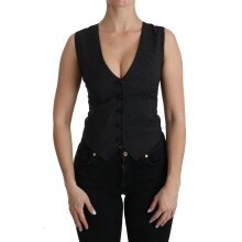 Black Dotted Sleeveless Vest Top Blouse