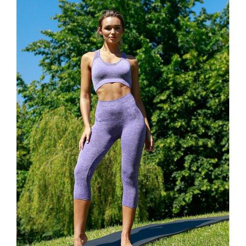 (L/XL, Dark Grey Marl) Tombo Ladies/Womens Seamless Cropped Leggings