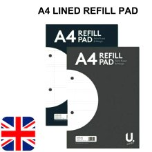 A4 Lined Ruled Paper 160 Pages Refill Pad Notepad Sidebound