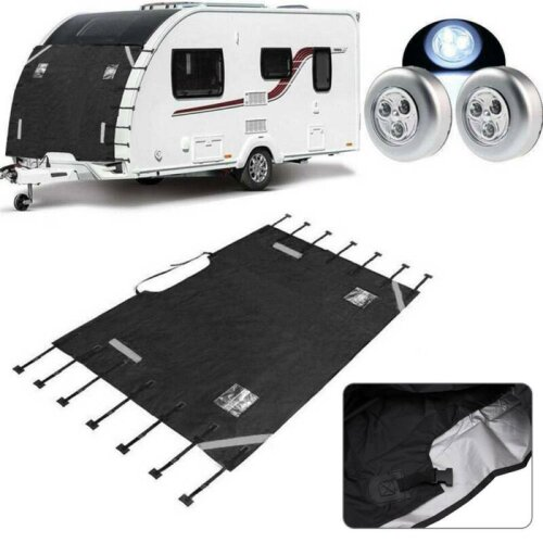 Universal Caravan Cover Protector Front Towing Shield Guard LED Light