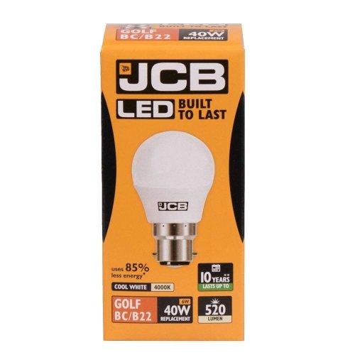 1 X JCB LED 6w = 40w BC/B22 Golf Ball Bulbs Bayonet Cap 520lm Cool White 4000k Non Dimmable [Energy Class A+]