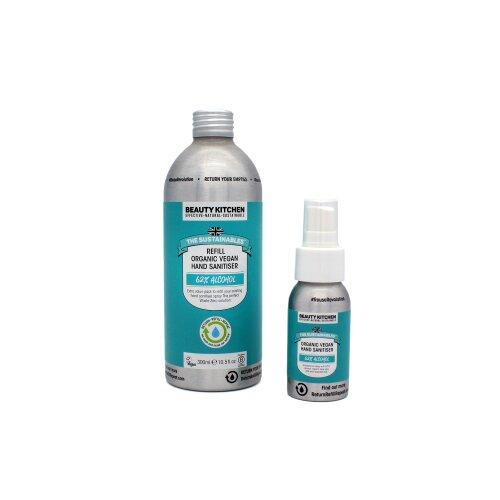 (50ml Bottle + 300ml Refill Pack) Beauty Kitchen Organic Vegan Hand Sanitiser