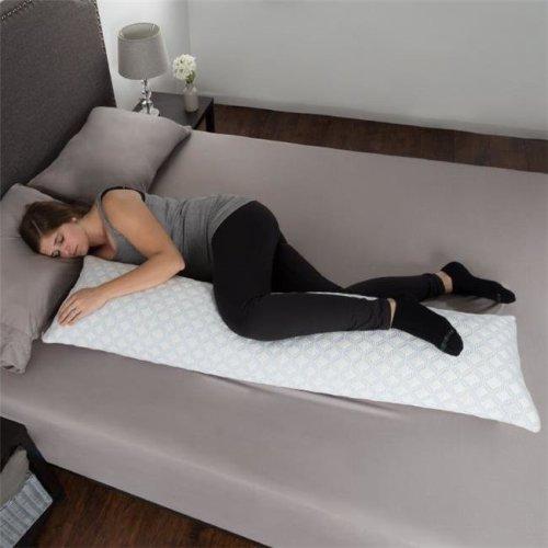 Lavish Home 82-TEX1003 50 x 14 in. Memory Foam Body Pillow, White & Blue