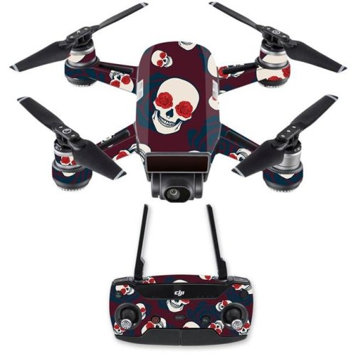 MightySkins DJSPCMB-Skulls N Roses Skin Decal for DJI Spark Mini Drone Combo - Skulls N Roses