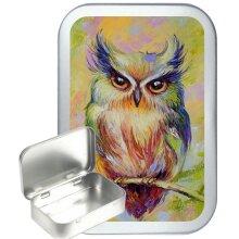 Owl Art 50ml Silver Hinged Tobacco Tin, Gift Box