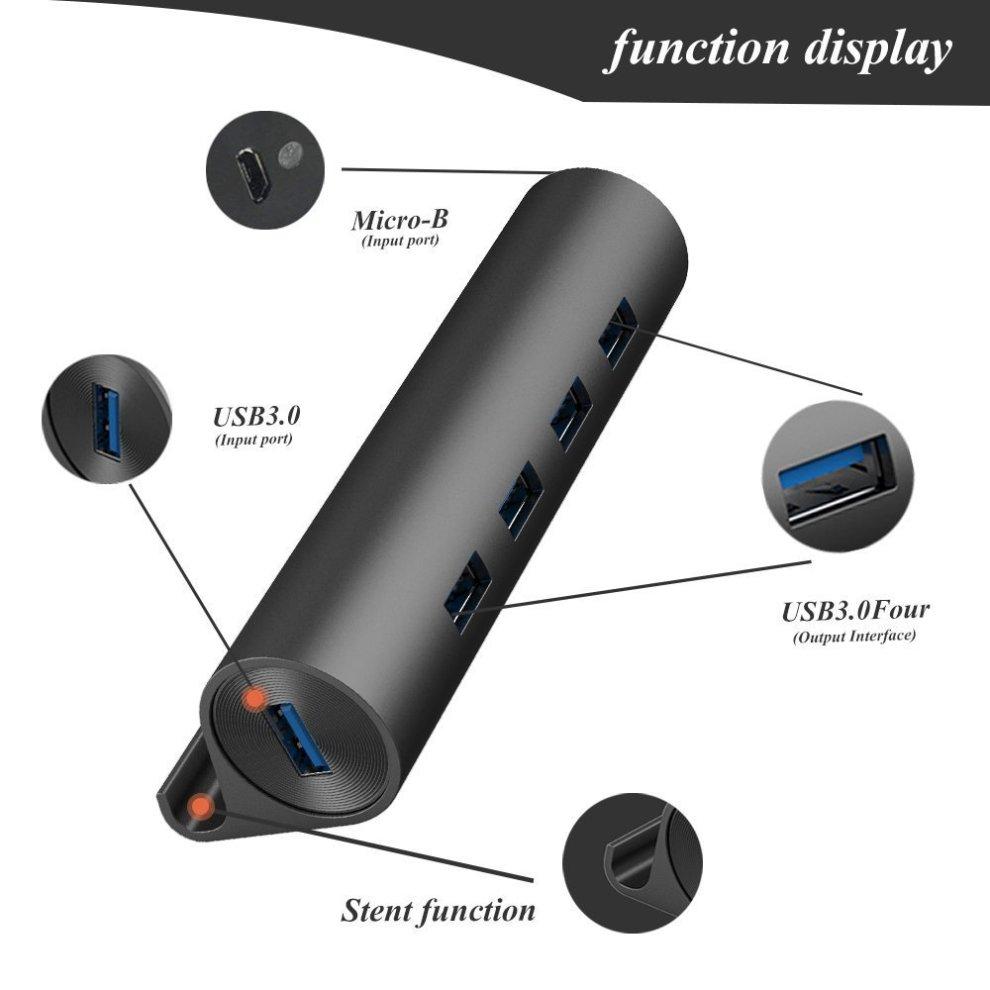 QICENT 4-Port Aluminum USB HUB with 4 USB3.0 Ports phone holder USB 3.0 data OTG