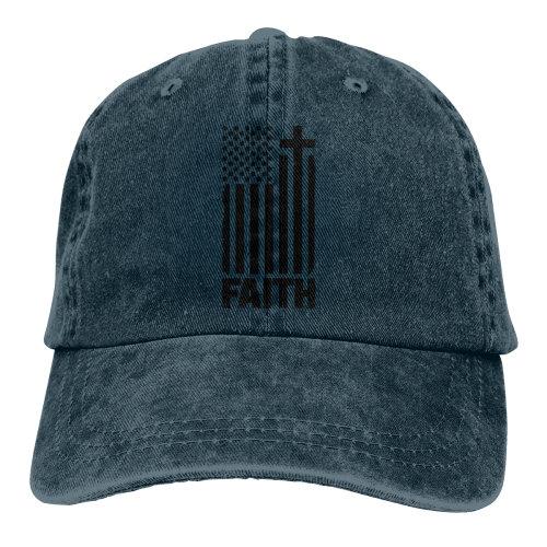 (Navy) Distressed Black USA Flag Denim Baseball Caps