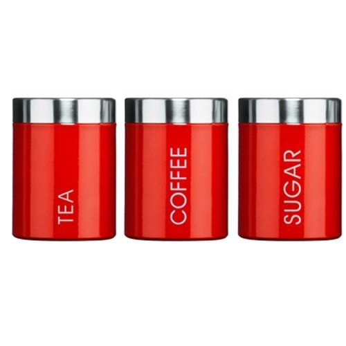 Kabalo Red Set of 3 Tea Coffee & Sugar Canisters Kitchen Storage Containers Jars Pots (10cm x 12cm each)