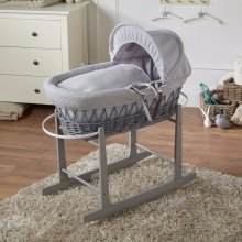 Grey Waffle & Grey Wicker Moses Basket With Rocking Stand