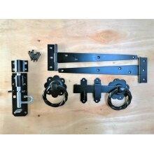 "Tee Hinge 3 16/"" 400mm Twisted RING LATCH Gate Fitting Kit Garden Gate Black"
