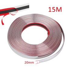 20MMx15M Chrome Adhesive Car Auto Door Edge Bumper Styling Trim Strip