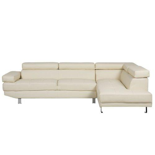 Faux Leather Corner Sofa Beige NORREA
