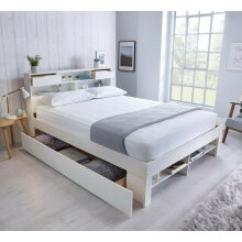 Fabulous Wooden Bed White Storage Bed Book Shelves