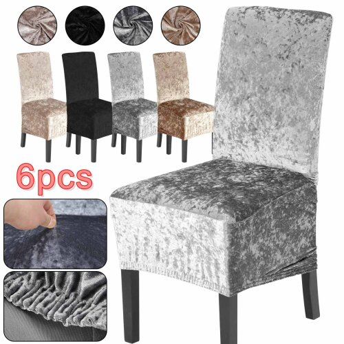Crushed Velvet Dining Chair Covers Stretchable Protective Slipcover