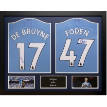 Framed DeBruyne/Foden signed 2 shirt display with COA & proof