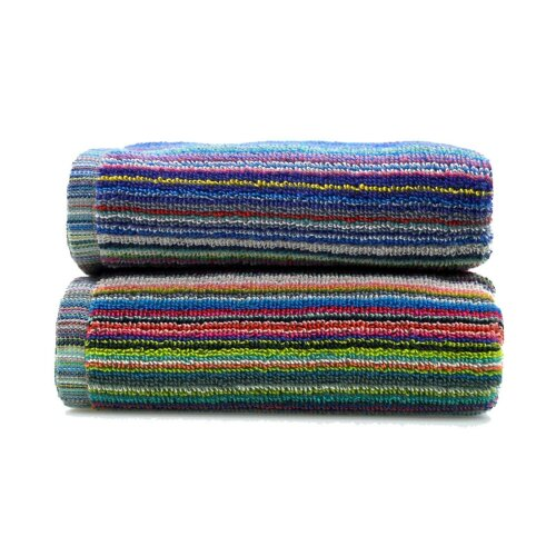 100% Cotton Colourful Remnant Stripe 2pk Towels Absorbent and Quick Dry 350gsm Lightweight