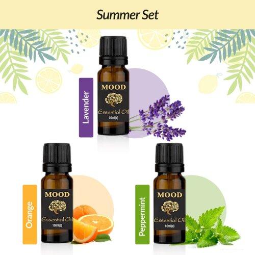 Summer Essential Oil Set Lavender, Orange, Peppermint