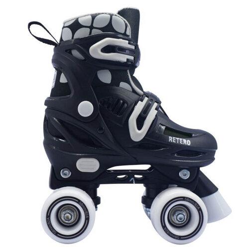 (9 UK Child - 11 UK Child) California Pro Retro Childrens Kids Adjustable Quad Rollerskates Black