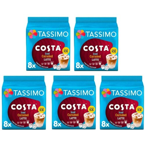 Tassimo Costa Iced Caramel Latte Ltd Ed Coffee Pods 5x 8 Cup Boxes = 40 Drinks! *BestBefore 9THJUNE21
