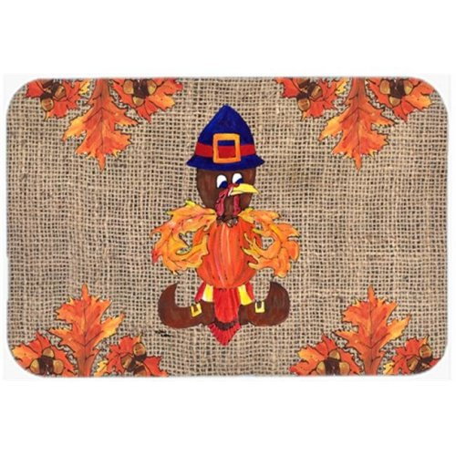 15 x 12 in. Thanksgiving Turkey Pilgrim Fleur de lis Glass Cutting Board, Large