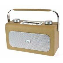 Retro Dual RTR-20 DAB & FM Radio Bluetooth Alarm Clock Luxurious Natural Leatherette Finish
