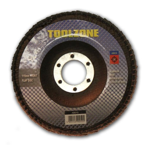 "Toolzone 41/2"" Flap Disc 80 Grit - Sanding 115mm Fum 12 Discs 4 Pack Angle -  flap sanding disc 115mm 80 grit fum 12 discs 4 pack toolzone angle"