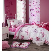 Catherine Lansfield Butterfly Easy Care Double Duvet Set Pink
