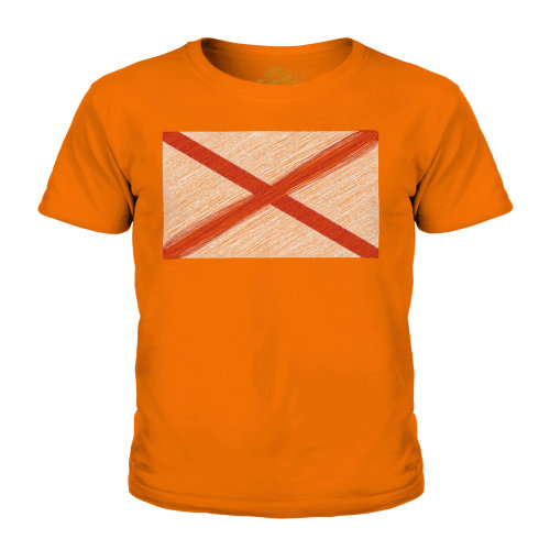 (Orange, 7-8 Years) Candymix - Alabama State Scribble Flag - Unisex Kid's T-Shirt