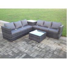 Fimous 6 Seater Rattan Garden Corner Sofa Set