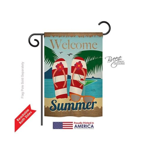 Breeze Decor 56075 Summer Welcome Summer 2-Sided Impression Garden Flag - 13 x 18.5 in.