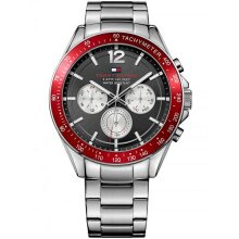 Tommy Hilfiger Luke Men's Watch TH1791122 Silver & Red, New with Tags
