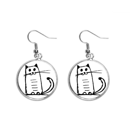 Cat Smile Sit Black Line Ear Dangle Silver Drop Earring Jewelry Woman