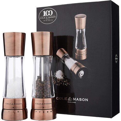 Cole & Mason Gourmet Precision Derwent Salt and Pepper Mill Gift Set, Stainless Steel, Copper, 190 mm
