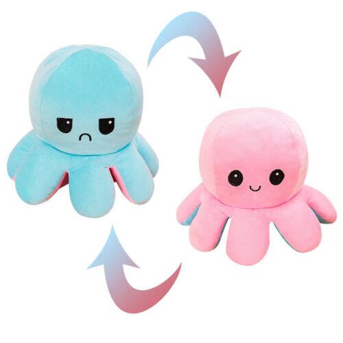 (Pink To Light Blue) Giant 50cm Reversible Octopus Flip Mood Plush Toy