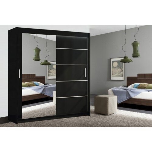 (Black , 150cm) Lyon Modern Bedroom Sliding Door Wardrobe