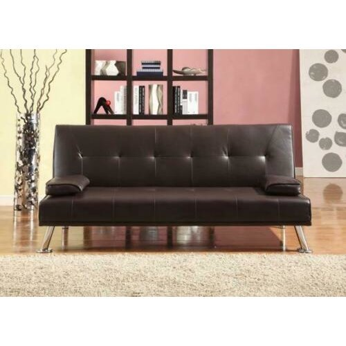 Comfy Living Cairns Italian Style Faux, Brown Fabric Leather Sofa Bed