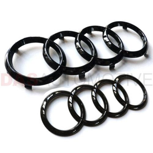 GLOSS BLACK AUDI FRONT & REAR RINGS BADGE EMBLEM A1 A3 A4 A5 S3 SLINE