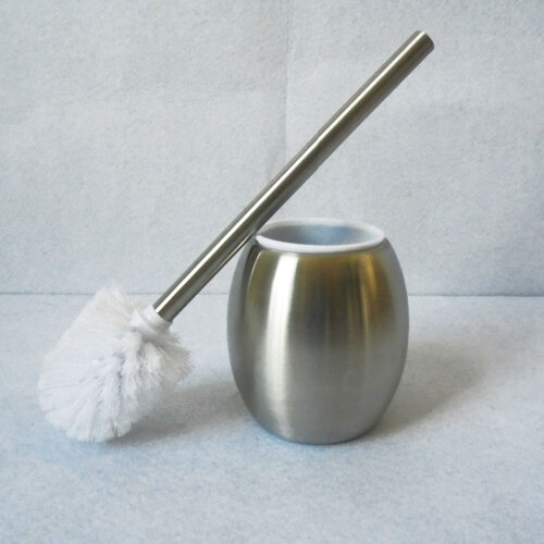 Stainless Steel Bathroom Toilet Brush Round Holder Standing Free Set