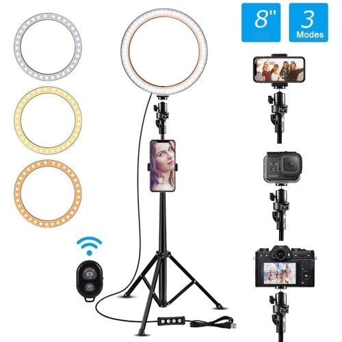 Selfie Ring Light With Adjustable Tripod Standing Dimmable 3 Modes