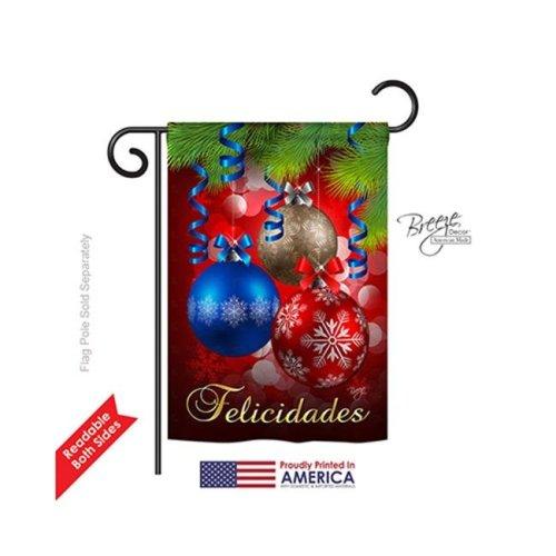 Breeze Decor 64084 Christmas Felicidades 2-Sided Impression Garden Flag - 13 x 18.5 in.