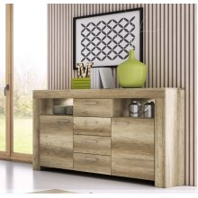 SKY Oak Colour Sideboard with 4 Drawers 155cm width / Fast Delivery