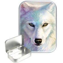 White Wolf 30ml Silver Hinged Tobacco Tin, Gift Tin