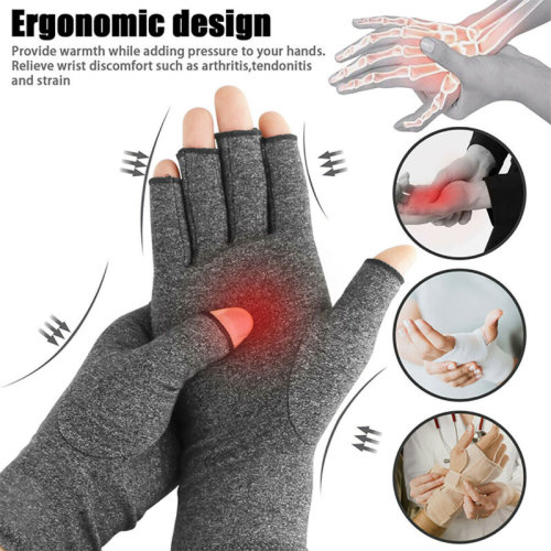 (Grey, S) Compression Gloves Arthritis Pain Relief Carpal Tunnel Hand Wrist Brace Support