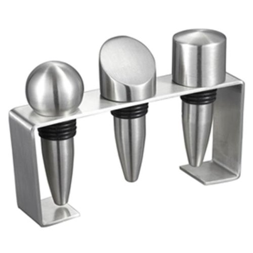 Visol VAC350 Barlow Stainless Steel Wine Stoppers with Rectangular Stand